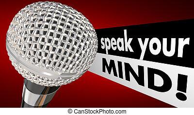 話す, あなたの, 心, マイクロフォン, 言葉, アニメーション, 論じなさい, 意見