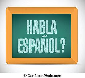 話す, スペイン語, blackboard., イラスト, 印
