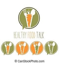 話, 食物, フォーク, ニンジン, 健康, スプーン, 概念