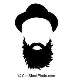 詳しい, あごひげを生やしている, ファッション, set., 隔離された, 長い髪, バックグラウンド。, ベクトル, 情報通, イラスト, 美顔術, hair., 白, あごひげ, man., ひげ