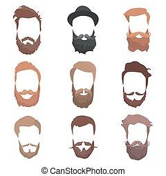 詳しい, あごひげを生やしている, ファッション, set., 隔離された, 長い髪, バックグラウンド。, ベクトル, 情報通, イラスト, facial., 白, あごひげ, man., ひげ