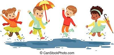 詳しい, かわいい, わずかしか, 子供, カラフルである, 水たまり, レジャー, ラベル, 活動的, セット, children., 微笑, イラスト, 遊び, 漫画, design.