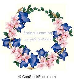 詳しい, さくらんぼ, 春, 花輪, 現実的, vector., 到来, イラスト, 花, カード