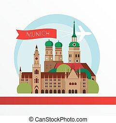 詳しい, イラスト, silhouette., ベクトル, ミュンヘン, 最新流行である, スカイライン