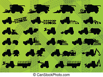 詳しい, コンバイン, 産業, トラック, 収穫機, トラクター, イラスト, 装置, シルエット, ベクトル,...