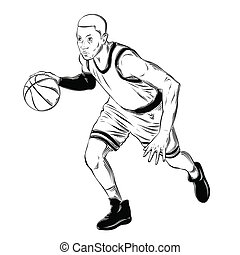 詳しい, スケッチ, バスケットボール選手, drawing., 型, 隔離された, イラスト, 手, バックグラウンド。, ベクトル, 黒, 引かれる, 白, スタイル