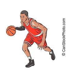 詳しい, スケッチ, バスケットボール選手, drawing., 型, 隔離された, イラスト, 色, バックグラウンド。, ベクトル, 引かれる, 白, 手, スタイル