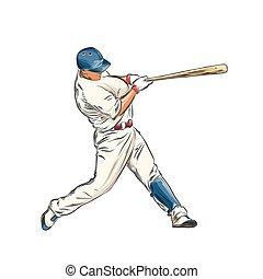 詳しい, スケッチ, プレーヤー, 色, 型, 隔離された, イラスト, 手, バックグラウンド。, ベクトル, 野球, drawing., 引かれる, 白, スタイル