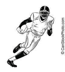 詳しい, スケッチ, ラグビープレーヤー, drawing., 型, 隔離された, イラスト, 手, バックグラウンド。, ベクトル, 黒, 引かれる, 白, スタイル