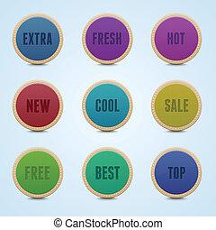詳しい, セット, 円形にされる, 高く, 9, stickers.