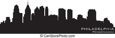 詳しい, フィラデルフィア, シルエット, ペンシルバニア, ベクトル, skyline.