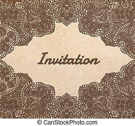 詳しい, ペイズリー織, ベクトル, 古い, フレーム, 型, 装飾, ビネット, 手, 伝統的である, ペーパー, 手ざわり, テンプレート, 招待, 引かれる, アジア人