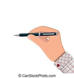 詳しい, ペン, ボールペン, 手。, クラシック