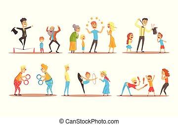 詳しい, ボール, カラフルである, 人々。, サーカス, 特徴, 若い, イラスト, ∥あるいは∥, ジャッグルする, 通り, ベクトル, 俳優, 人, オレンジ, 前に, 漫画, 幸せ