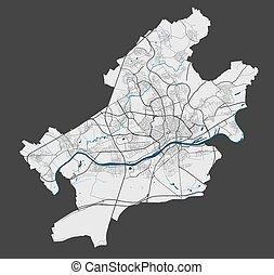 詳しい, ポスター, frankfurt, 都市 通り, water., map., 地図