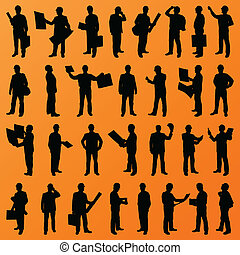詳しい, 人々, サイト, イラスト, ディレクター, 上司, シルエット, ベクトル, 労働者, 背景, コレクション, 建設, マネージャー, エンジニア