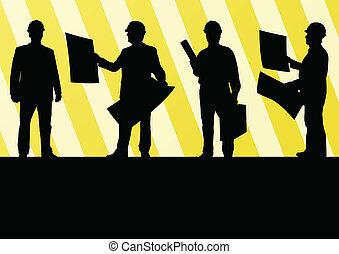 詳しい, 人々, 男性, 労働者, サイト, イラスト, シルエット, ベクトル, コレクション, 背景, 建設, ...
