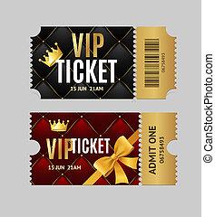 詳しい, 切符, set., 現実的, vip, ベクトル, 3d