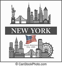 詳しい, 合併した, ヨーク, 新しい, 都市, シルエット, america., スカイライン, 州, イラスト, ベクトル