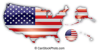 詳しい, 地図, アメリカ