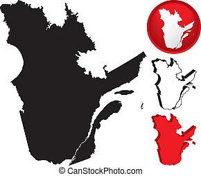 詳しい, 地図, ケベック, カナダ