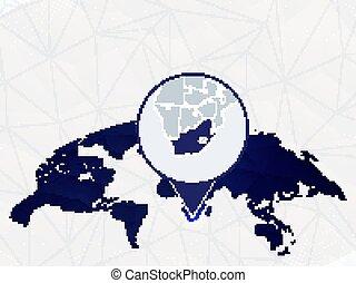詳しい, 地図, 円形にされる, アフリカ, 青, map., ハイライトした, 世界, 南
