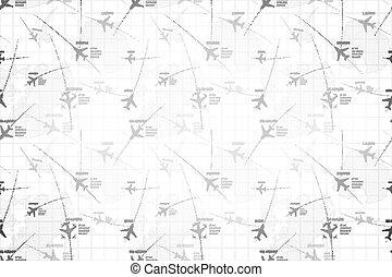 詳しい, 地図, 広く, レーダー, 背景, 飛行機, モノクローム