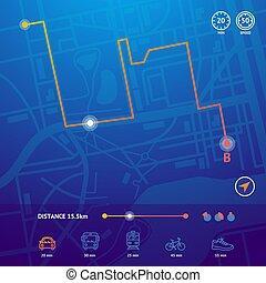 詳しい, 地図, 都市, concept., 現実的, ベクトル, ナビゲーション, 3d