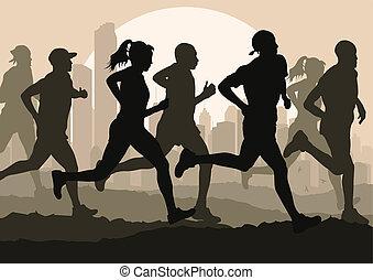 詳しい, 女, イラスト, マラソン, 活動的, ランナー, 人