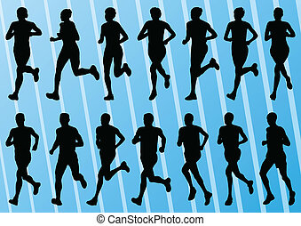 詳しい, 女, コレクション, シルエット, ベクトル, イラスト, 背景, 活動的, ランナー, マラソン, 人