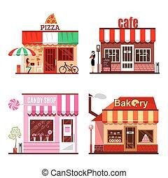 詳しい, 平ら, 建物, セット, 都市, デザイン, 公衆, 涼しい