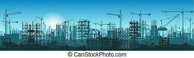 詳しい, 広く, 建物, シルエット, process., イラスト, 高く, 建設, 下に, 旗