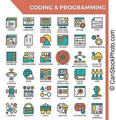 詳しい, 概念アイコン, プログラミング, &, コーディング, 線