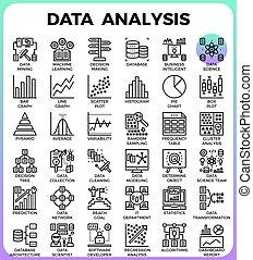 詳しい, 概念アイコン, 分析, 線, データ