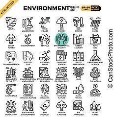 詳しい, 概念アイコン, eco, &, 環境, 線