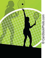 詳しい, 概念, テニスプレーヤー, シルエット, ベクトル, il, 背景
