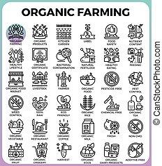 詳しい, 概念, 有機体である, アイコン, 線, 農業