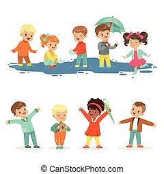 詳しい, 水たまり, わずかしか, 子供, カラフルである, レジャー, ラベル, 活動的, セット, children., 微笑, イラスト, 遊び, 漫画, design.