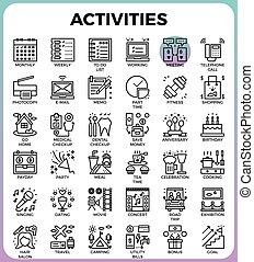 詳しい, 活動, 概念アイコン, 毎日, 線