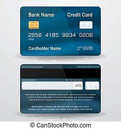 詳しい, 現実的, ベクトル, card., クレジット