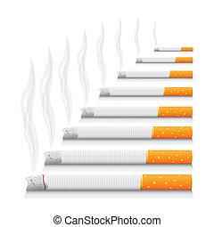 詳しい, 現実的, -, 隔離された, イラスト, タバコ, 喫煙
