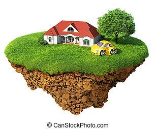 詳しい, 生活, 概念, 成功, lifestyle., isolated., 島, のどかな, 木, 芝生, 家, スポーツ, 幸福, 生態学的, dream., 車。, 空想, base., 空気, 地面