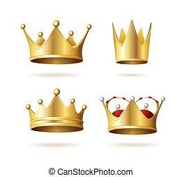 詳しい, 皇族, 3d, set., 王冠, 現実的, 金, ベクトル