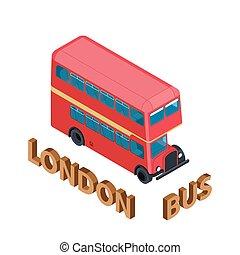 詳しい, 等大, イギリス\, イギリス, バス, 隔離された, 大いに, decker, ロンドン, vehicle., ダブル, 赤