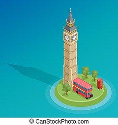 詳しい, 等大, セット, 大きい, バス, landmarks., decker, 有名, kiosk., vector., ダブル, ベン, 赤, london.