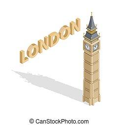 詳しい, 等大, ベン, illustration., 大きい, 大いに, バックグラウンド。, ベクトル, タワー, 白