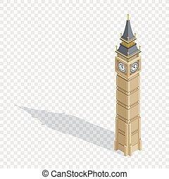 詳しい, 等大, ベン, illustration., 大きい, 大いに, バックグラウンド。, ベクトル, タワー, 透明