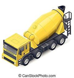 詳しい, 等大, ミキサー, コンクリート, トラック, アイコン