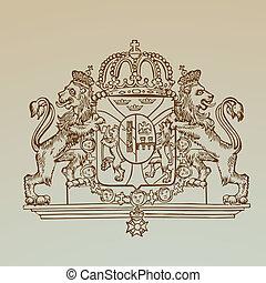 詳しい, 紋章, 型, -, 高く, 特許権使用料, ベクトル, 品質