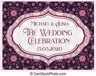 詳しい, 結婚式, 装飾, 招待, 花, カード